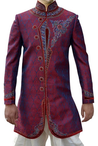 Indian Sherwani for Men Crimson Indo Western Sherwani Prince Designer
