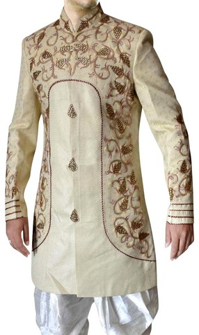 Mens Sherwani kurta Beige Indo Western Suit Embroidered Wedding Sherwani