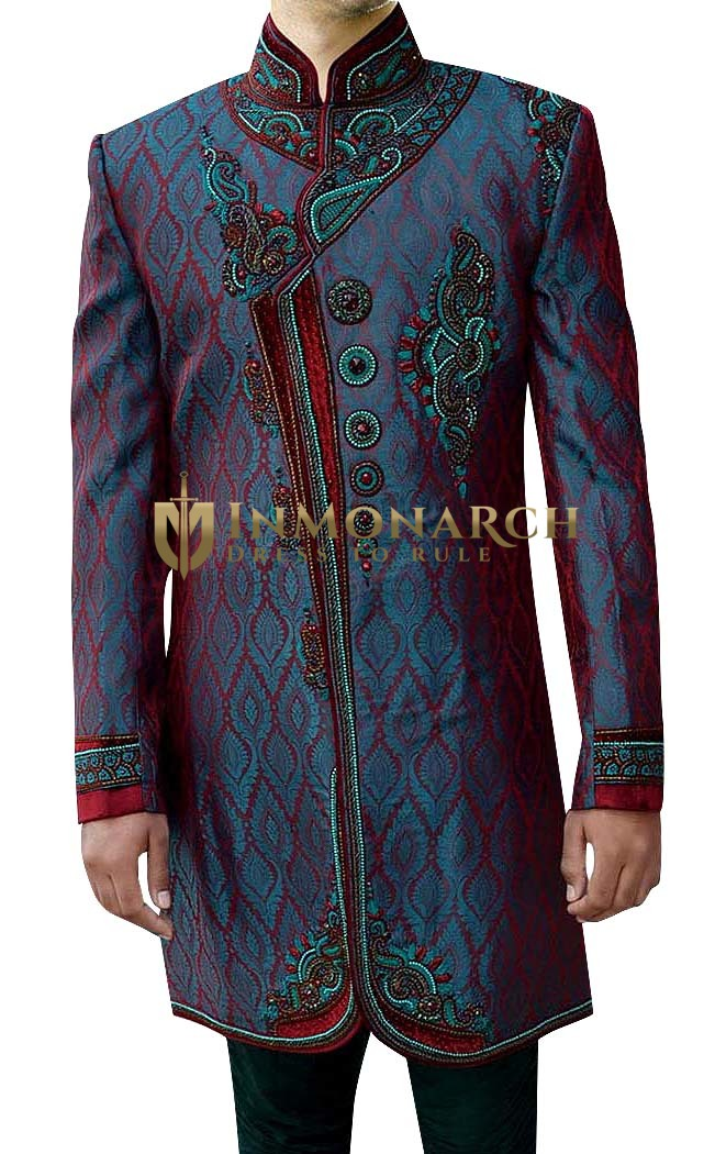 Mens Wedding Sherwani Teal Indo Western Designer Work Indian Sherwani