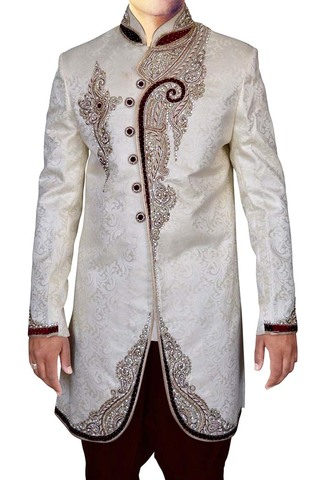 Mens Cream Indo Western Sherwani kurta Embroidered Work Sherwani