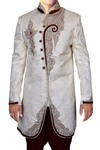 Mens Cream 2 Pc Indo Western Embroidered Work