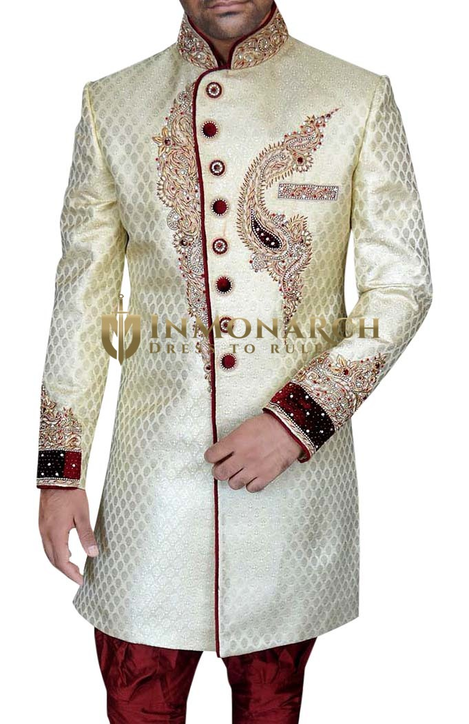 Indian Sherwani for Men Cream Indo Western Maroon Piping Sherwani kurta