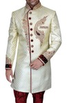 Mens Cream Brocade 2 Pc Indo Western Maroon Piping