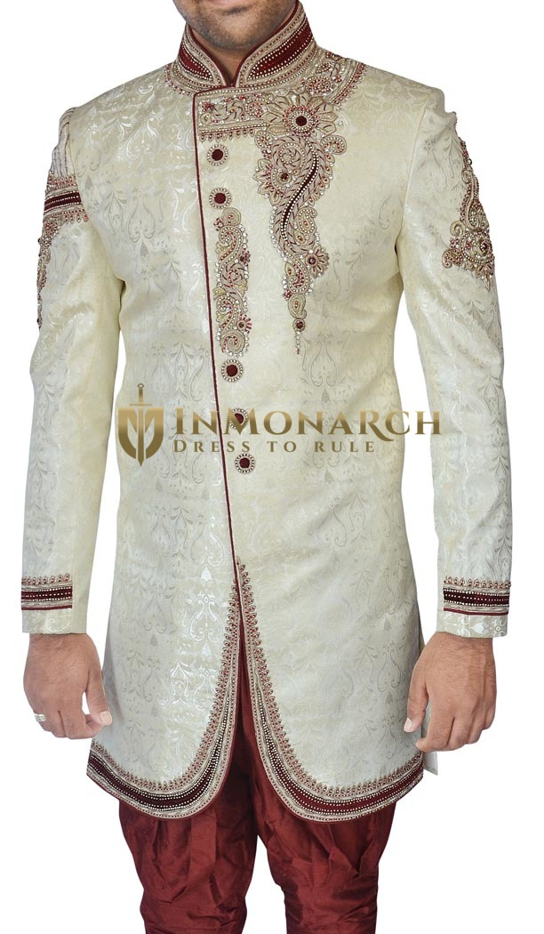 Indian Wedding Clothes for Men Cream Indo Western Groomswear