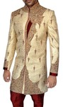 Mens Golden 2 Pc Indo Western Sherwani Embroidered