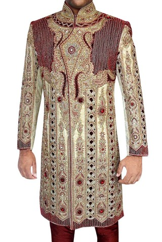 Indian Wedding Clothes for Men Beige Indo Western Wedding Cutwork
