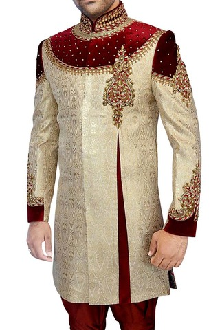 Sherwani for Men Wedding Golden Indo Western Glorious Designer Sherwani