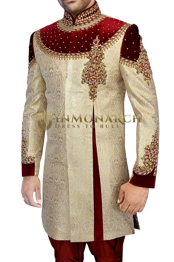 Mens Golden 2 Pc Indo Western Glorious Designer