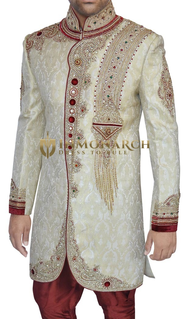 Mens Sherwani Beige Indo Western Indian Wedding Clothes for Men
