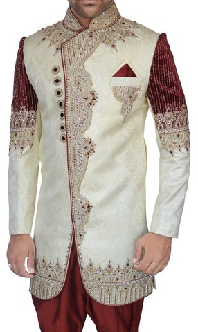 Sherwani Cream Indo Western Designer Sherwani for Men Wedding