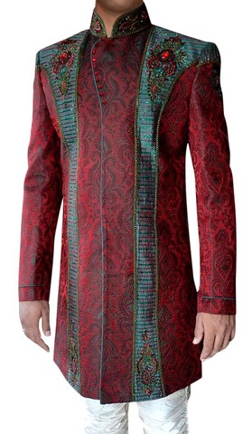 Mens kurta for jeans Red Indo Western Sherwani Exclusive Indian Wedding