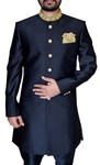 Mens Black Polyester 2 Pc Indo Western Embroidered