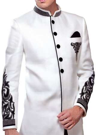Sherwani for Men Wedding White Polyester Indo Western Patch Work