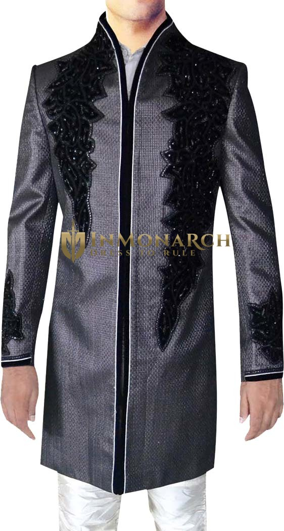 Mens kurta for jeans Silver Sherwani Embroidered Indo Western Suit