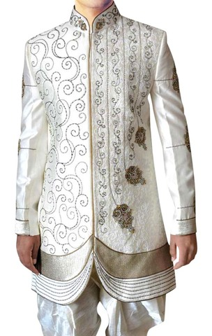 Mens Cream 2 Pc Indo Western Embroidered Partywear