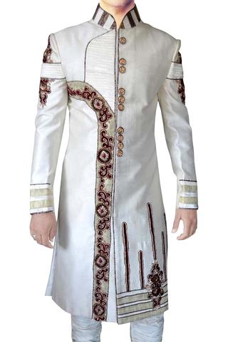 Mens Cream 2 Pc Indo Western Embroidered Reception