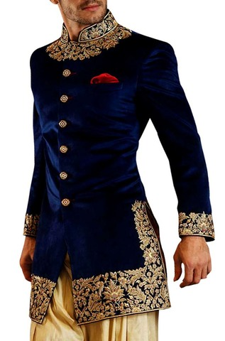 Mens Navy Blue Velvet 3 Pc Indo Western Machine Work