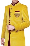 Mens Yellow Velvet 3 Pc Indo Western Maroon Trim