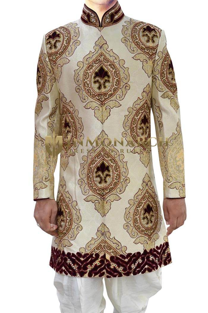 Indian Wedding for Men Ivory Indo Western kurta for jeans Designer Pattern