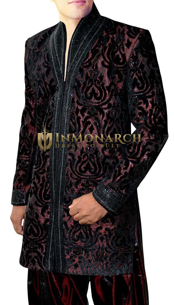 Mens Black Velvet 2 Pc Indo Western Designer Work