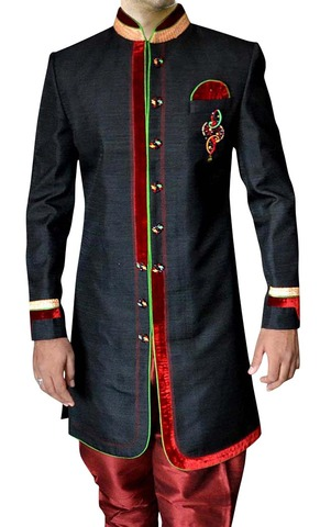 Mens Black 4 Pc Indo Western Ethnic Wear