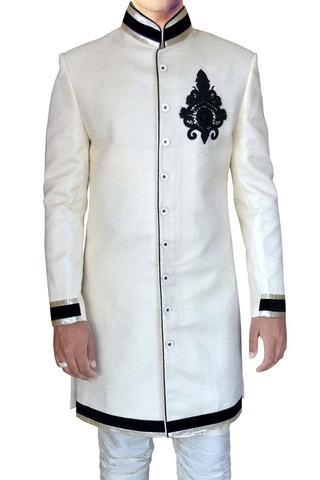 Mens Cream Jacquard 2 Pc Indo Western Wedding