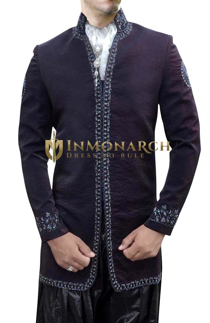 Indian Wedding for Men Embroidered Wine Indo Western Party Wear