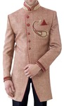 Mens Brown Jute 3 Pc Indo Western Partywear