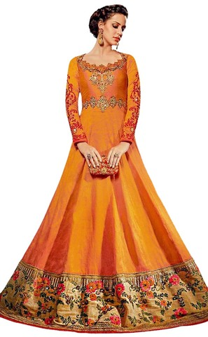 Yellow Royal Art Silk Wedding Gown