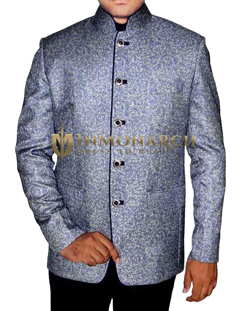 Mens Blue 2 Pc Jodhpuri Suit  Printed