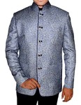 Mens Blue 2 Pc Jodhpuri Suit  Printed