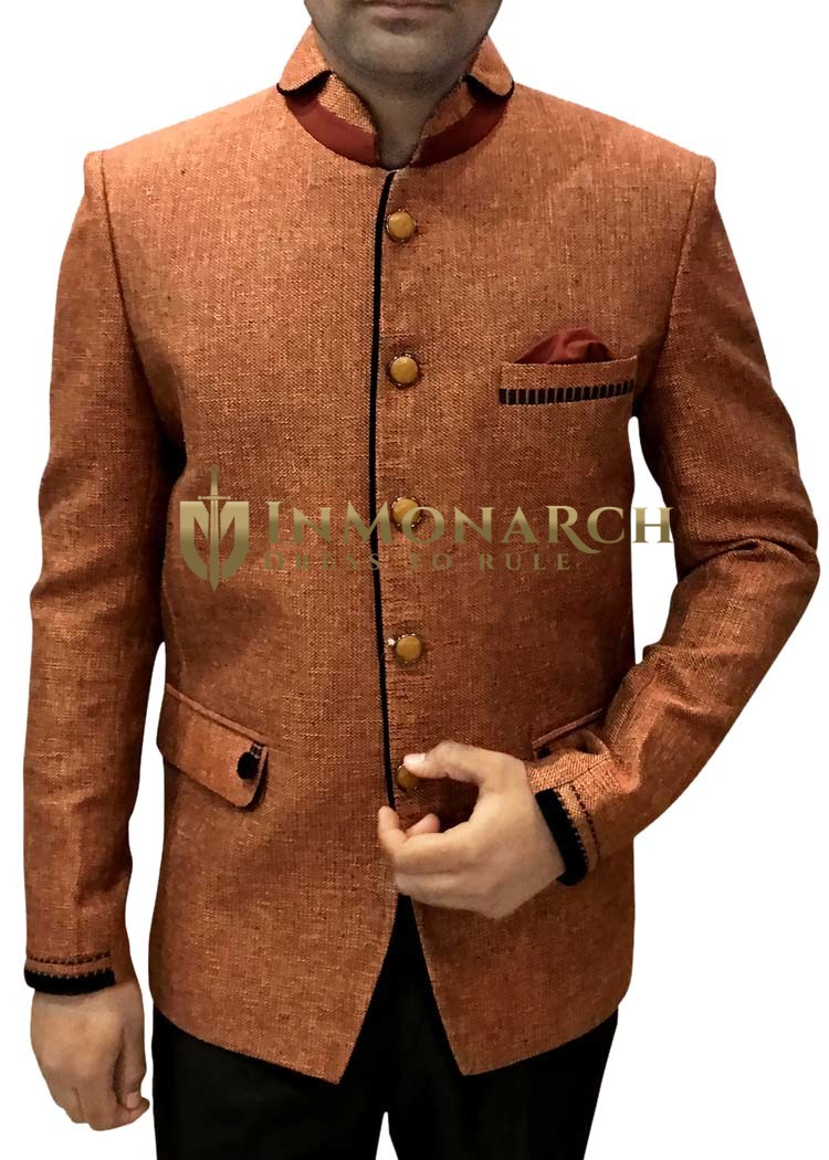 Mens Copper Color Jute 3 Pc Jodhpuri Suit