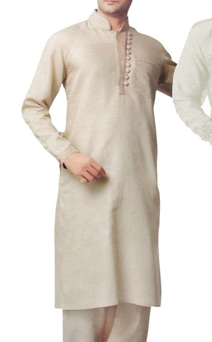 Mens Beige Linen Kurta Pyjama Stylish Neck