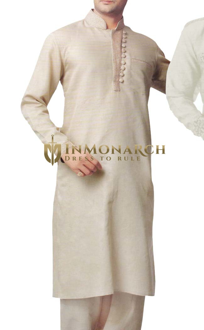 Indian Clothes for Men Beige Linen Kurta Pyjama Stylish Neck Indian Kurta