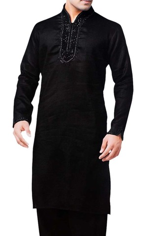 Mens Black Linen Kurta Pyjama Partywear