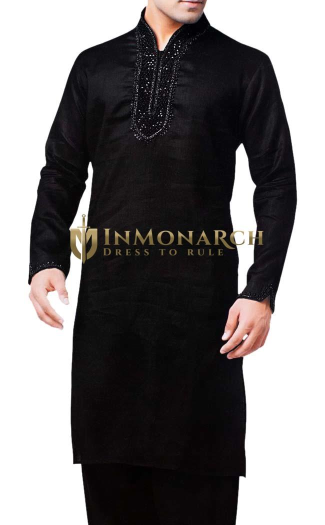 Sherwani for Men Black Kurta Pajama Linen Kurta Pyjama Partywear
