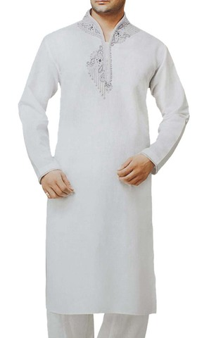 Mens White Linen Kurta Pyjama Attractive Embroidered