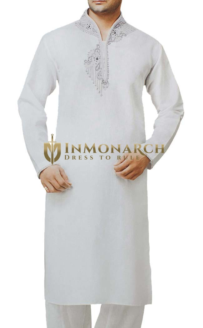 Mens Indian Kurta White Linen Kurta Pyjama Attractive Embroidered Sherwani