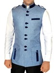 Mens Modi Jacket Sky Blue Nehru Vest Safari Style