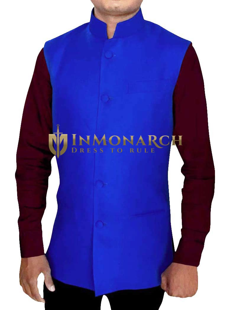 Mens Royal Blue Nehru Vest Indian Look
