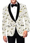 Mens Slim fit Casual Cream Printed Cotton Blazer sport jacket coat Wedding