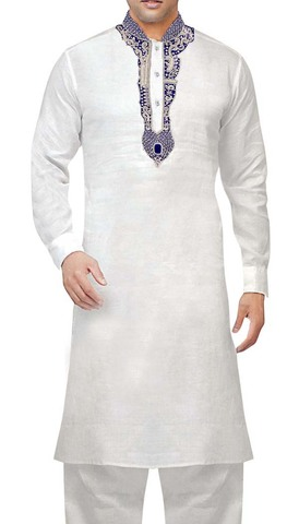 Mens White Linen Kurta Pyjama Silver Embroidered