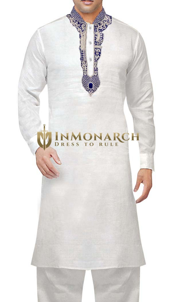 Sherwani for Men White Linen Kurta Pyjama Silver Embroidered Kurta Pajama