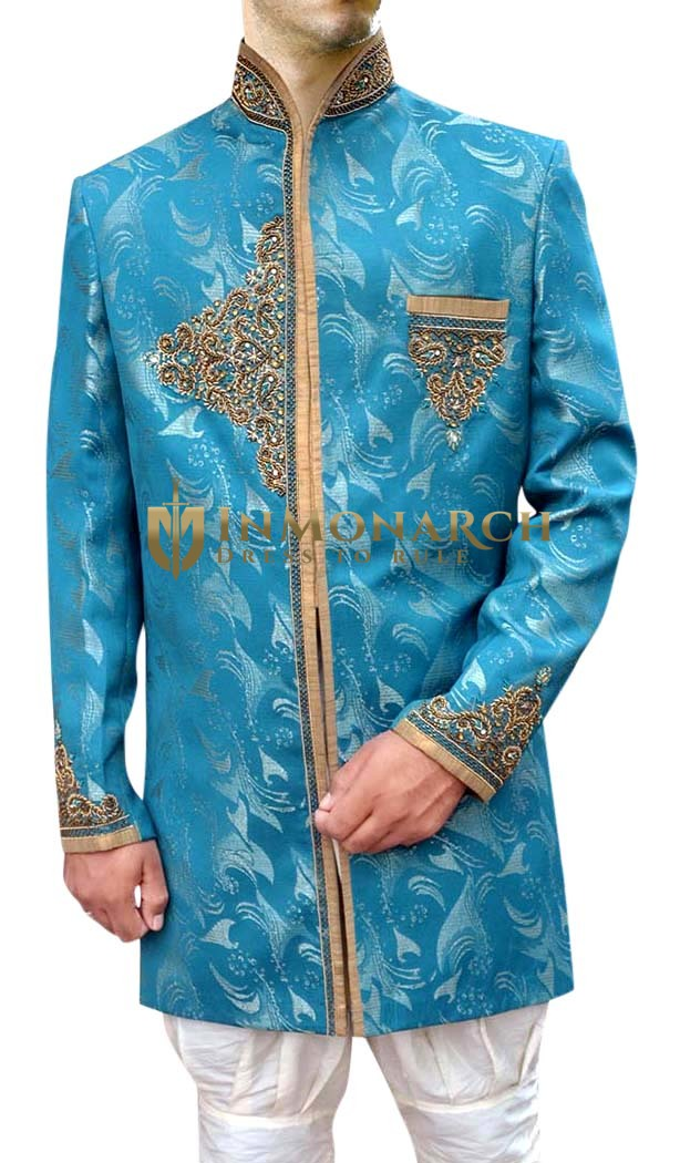 Sherwani for Men Sky Blue Indo Western Jodhpuri Wedding Sherwani Pattern