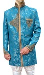 Mens Sky Blue 2 Pc Indo Western Jodhpuri Pattern