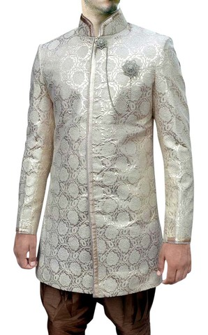 Mens Cream Groom 3 Pc Indo Western Nehru pattern