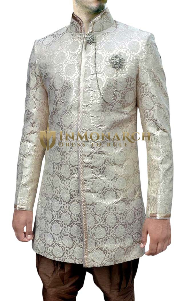 Mens Cream Wedding Sherwani Groom Indo Western Nehru pattern