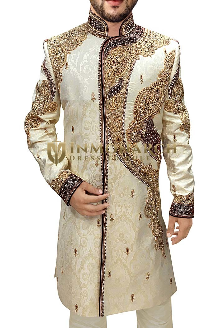 Groom Sherwani For Men Wedding Beige Sherwani Heavy Embroidered