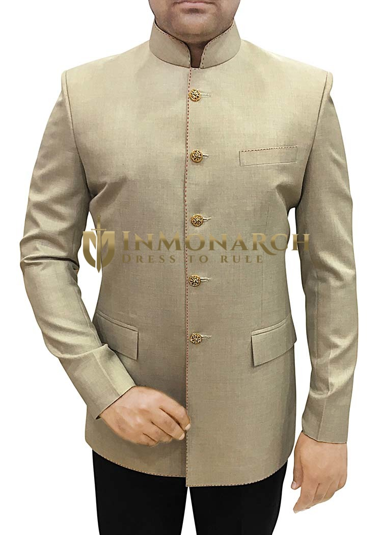 Mens Beige 2 Pc Jodhpuri Suit Traditional