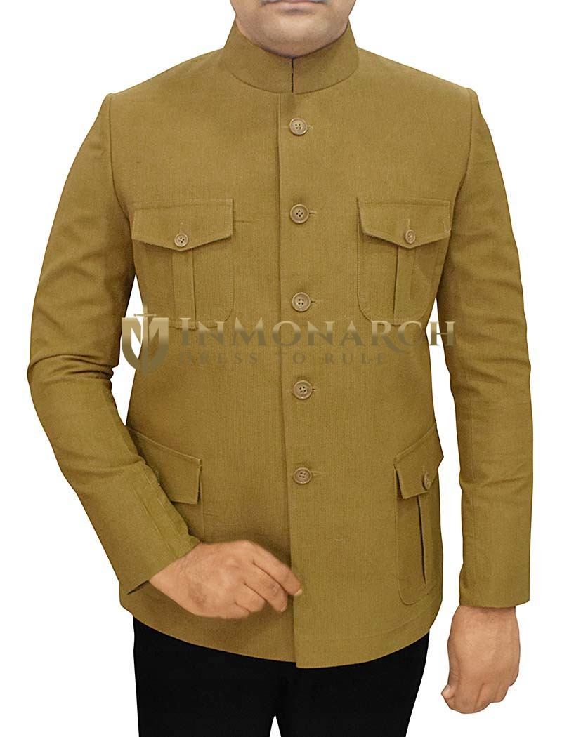 Mens Olive Corduroy 2 Pc Jodhpuri Suit 4 Pocket